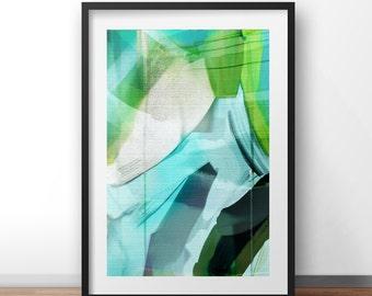 Abstract Art, Digital Download, Aqua colours, modern wall art, hand painted acrylic print, sea, marine colours