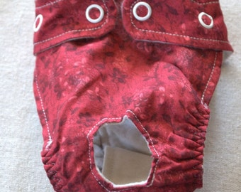 FREE SHIPPING. Dog diaper. In season diaper. Dog panty. Red Floral. XX-Small