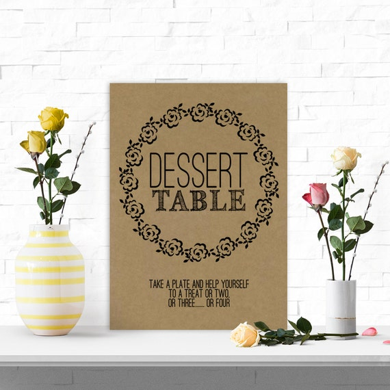 Wedding Dessert Table Sign: Pretty Dessert Table Sign For Wedding And Graduation Parties