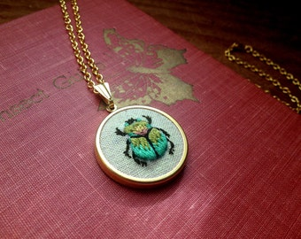 Scarab Beetle Pendant | Hand Embroidered Necklace