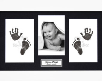 New Baby Boy and Girl Gift Baby's Handprint Footprint & Photo White Frame Kit