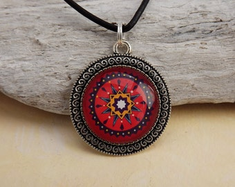Spiritual chain, chain Indian, Indian jewelry, charm, boho jewelry, ethnic jewelry, mandala necklace, red, Indian pattern
