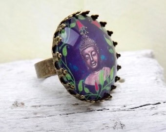 Oriental cabochon ring with Buddha motif , replaced bronze , oriental, adjustable ring with cabochon , customizable , ring rail ,
