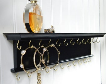 "18"" Necklace Bracelet Holder Jewelry Organizer - Wall Mounted Necklace Hanger - Jet Black - Handmade"