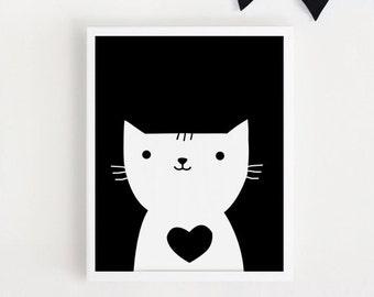 Printable art Heart Cat living room  Kids room wall Art Poster Print Home Decor Digital file Scandinanvian art INSTANT DOWNLOAD 8x10