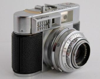 Voigtlander Color Skopar 2.8/50, Prontor 500 SLK - Y, Vitomatic II a, Vintage Camera,  Brown Leather Case, Germany