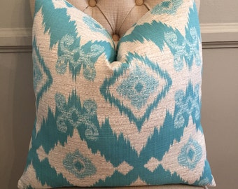 Handmade Decorative Pillow Cover - Upholstery - Richloom Sanateo - Teal - Turquoise - Ikat - Blue - Aqua