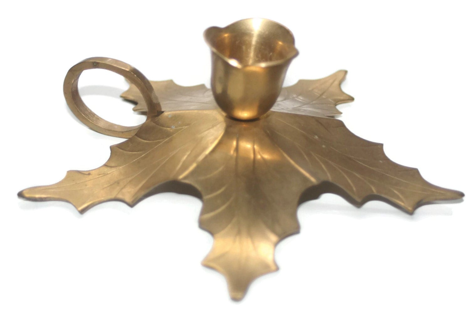 Brass Leaf Candle Holder Vintage Home Decor