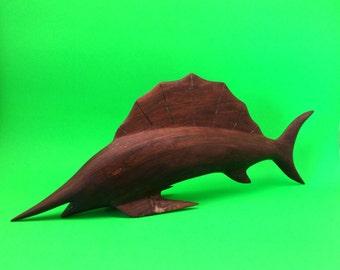 Mid Century Wooden Marlin Fish Sculpture