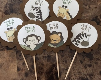 Safari Themed Baby Shower Cupcake Toppers