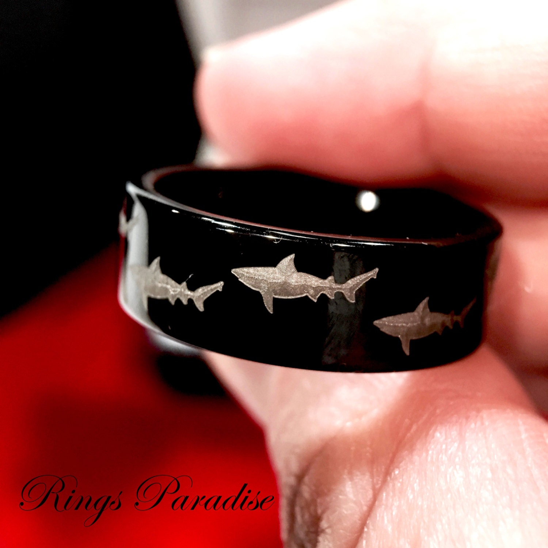 men s tungsten ring black tungsten shark ring custom