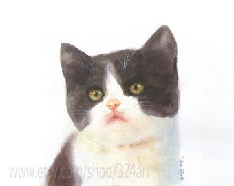 Custom Cat Portrait, Pet Portrait Painting, Cat Portrait Custom, Watercolor Portrait