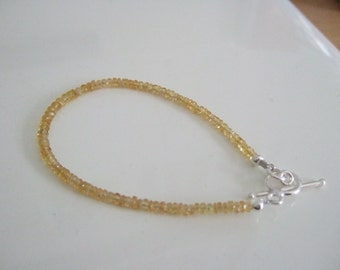 """Yellow Faceted Genuine Sapphire 7"""" Delicate Bracelet with 925 Sterling Silver Toggle Clasp and Findings"""