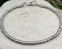 FREE SHIPPING-Stainless Steel Bracelet, Men Beaded Bracelet. Stainless Steel  2mm Round Beads, Bracelet For Men, Unisex Bracelet,