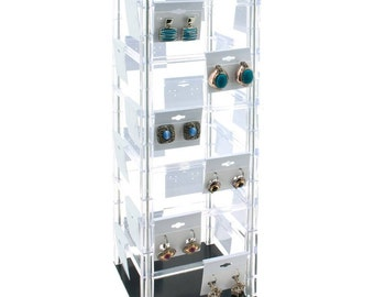 """Rotating Countertop 48 Earring Display Stand with 100  2"""" x 2"""" Cards  Choose Black White or Grey Earring Cards    Revolving"""
