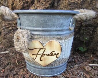 Rustic flower girl basket, flower girl bucket, flower girl pail, flower girl tin, rustic wedding pail, flower girl basket, rustic flower tin