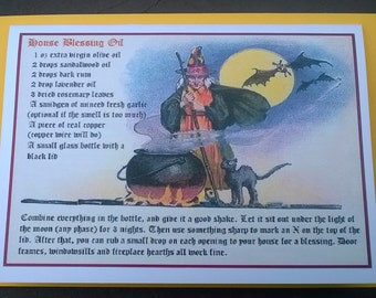 Fabulous House Blessing Witch's Spell Card - house-warming, new home, pagan, unusual gift card, yellow envelope