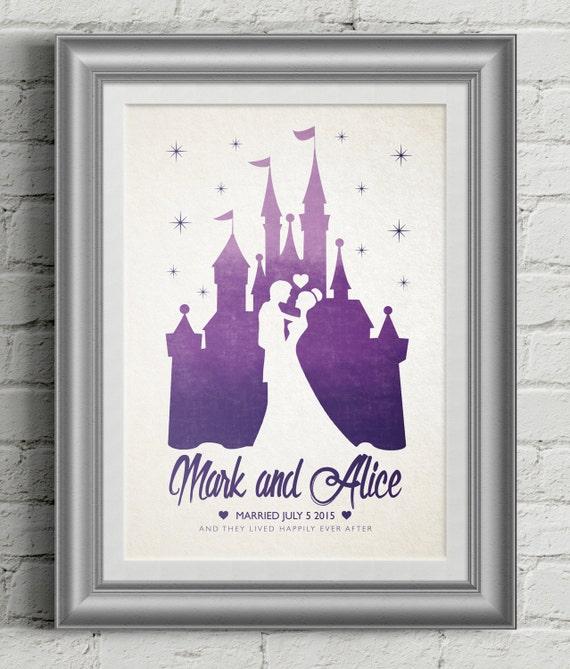 Personalised Wedding Gifts Disney : Disney Wedding Poster Gift / Personalised Wedding Gift / Wedding ...