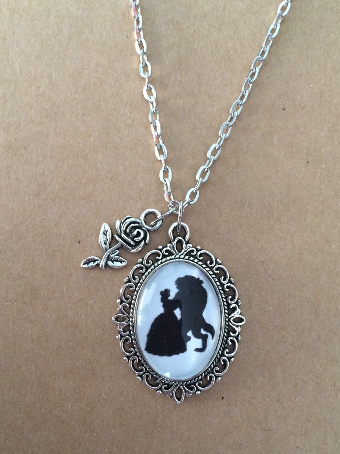 handmade beauty and the beast necklace beauty and the beast