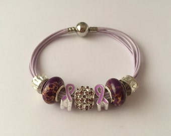 Bracelet charms, multi cords, violet, ref 608 Ribbon collection