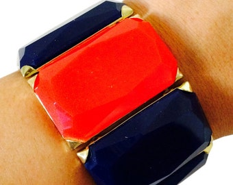 Fitbit Bracelet for Fitbit Flex Fitness Trackers - The HANNAH Blue and Red Faceted Stretch Fitbit Bracelet - FREE and Fast U.S. Shipping