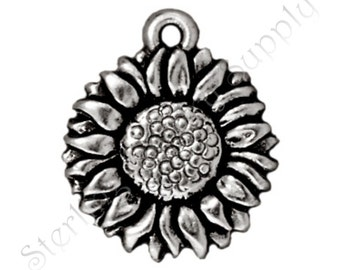 TierraCast Sunflower Charm, Antique Silver-Plated Double-Sided Wholesale Sunflower Charm, Authorized TierraCast Dealer, USA Seller (T138)