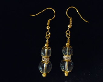 Clear Round Bead and Gold Plated Chrystal Rondelles Earrings