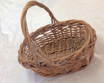 Lg French Bread Bun Storage Wicker Basket with Handle 10 x 13""
