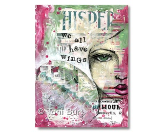 art print - we all have wings - positive affirmation, inspirational art, spiritual, angel art, angel wings, mixed media art 8x11