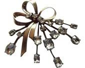Sterling Silver Crystal Bow Brooch Vintage 1930 Signed Ciner Bridal Pin