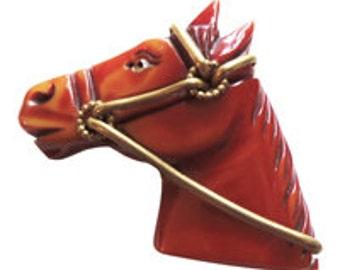 Bakelite Hand Carved  Horse Head Brooch/ Pin Vintage 1930
