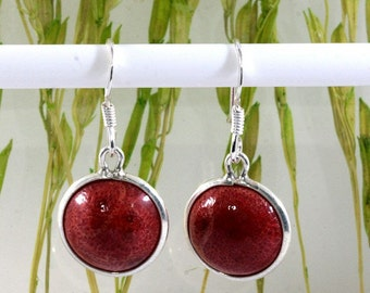 Sponge coral  and Silver Earrings  -- 3995