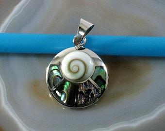 Shiva Eye in Abalone, pendant 925 sterling silver - 6234