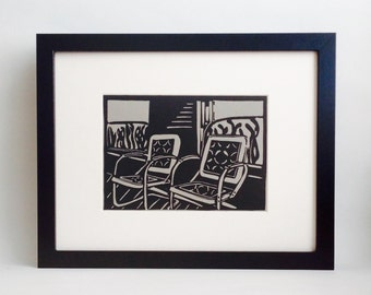 "Porch Chairs handmade linocut print 5x7"", unframed (gravel gray) - home decor, wall art, birthday gift, wedding gift, cottage art, cabin art"