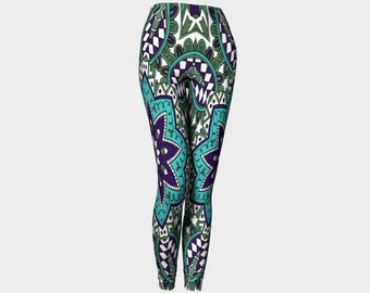 TENDAI  Leggings    Purple-Blue-Turquoise-Wearable Art-Women-Pants -Clothing-Clothes-Fashion-Exercise-Canada-Ladies-Hand Sewn- XS-S-M-L-XL