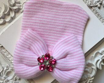 Bow & Rhinestone Newborn Hat, Newborn Hat, Baby Hat, Hospital Hat, Newborn Hospital Hat, Baby Newborn Hat, Newborn Coming Home Outfit