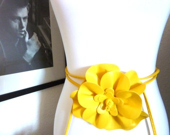 yellow leather flower belt Necklace Summer Beach Accessories