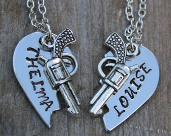 Thelma & Louise - Set of 2 Stamped Metal Friendship Necklaces