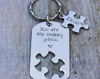 Personalized Custom Stamped You are my missing piece Key Chain - Stainless Steel Handstamped Puzzle Piece Key Chain