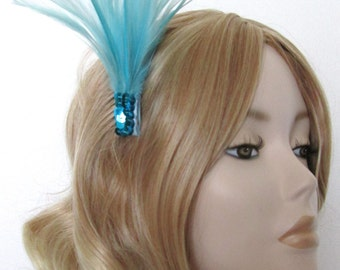 AQUA and TURQUOISE Feather and sequin fascinator, on a small comb
