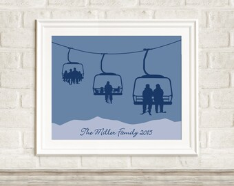 Custom Chair Lift Print ~ Multi-Generational Family Ski Art ~ Personalized Ski Art ~ Custom Ski Art ~ Gift for Skiers ~ Gift for Family