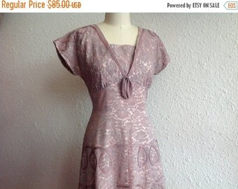 SALE 1950s Lavender lace party dress