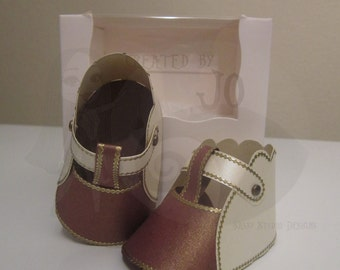 OOAK Handmade Baby Paper Shoes - Cream, Brown & Gold Scallop Style