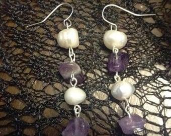 Pearl and amethyst strand earrings
