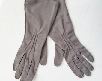 Vintage Grey Gloves by Shalimar // Mid Century Gray Gloves // vintage 50s 60s dress gloves // Size 6