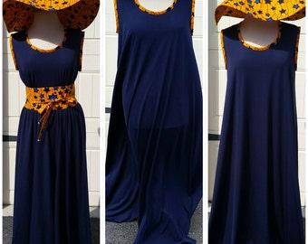 So Pretty Ankara Maxi Dress with hat and belt - Ready to ship!