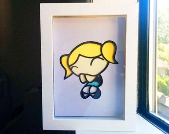 """PowerPuff Girls Bubbles Layered Paper Cut Art Piece 5""""x7"""" Shadowbox Frame"""