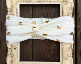 Ivory and gold Turban headband. Baby Turban, Toddler Turbans, Turban Head Wraps.
