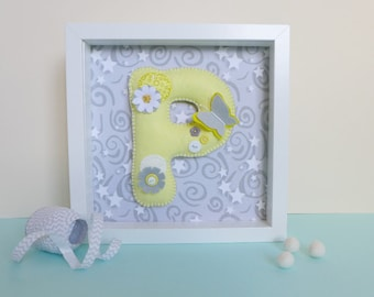Letter wall art - initial art - butterfly nursery decor - new baby gift - butterfly nursery art - decorative letter - nursery /childs room