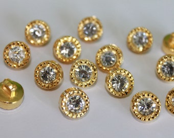 15 pcs gold round plastic rhinestone buttons, sewing shank buttons, tiny 10 mm shiny decorative buttons